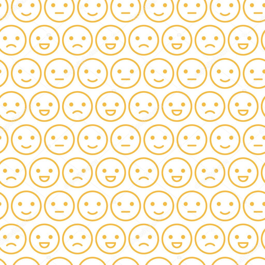 Cute Yellow Smiley Faces, Emotions Seamless Pattern