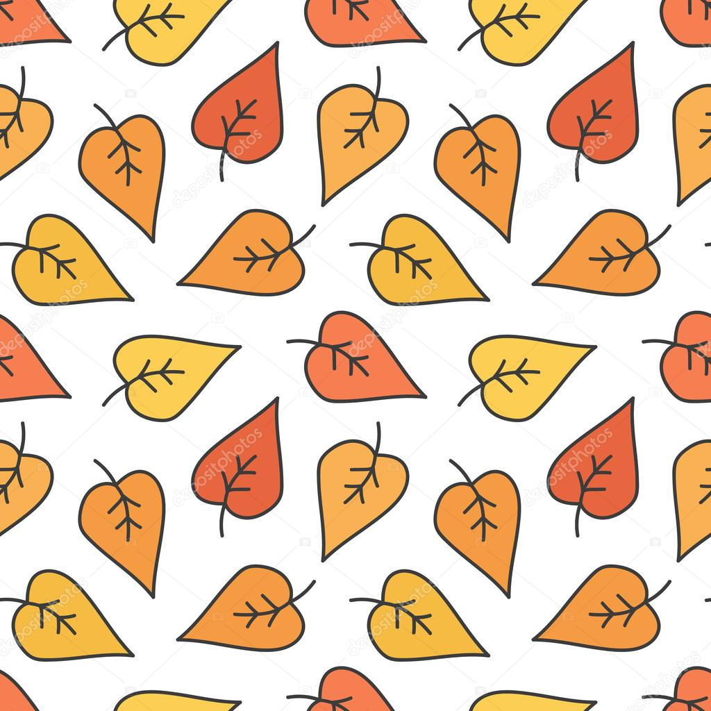 Cute Doodle Hand Drawn Colorful Autumn Leaves Seamless Pattern Background Stock Vector C Cosmic Pony 121470878