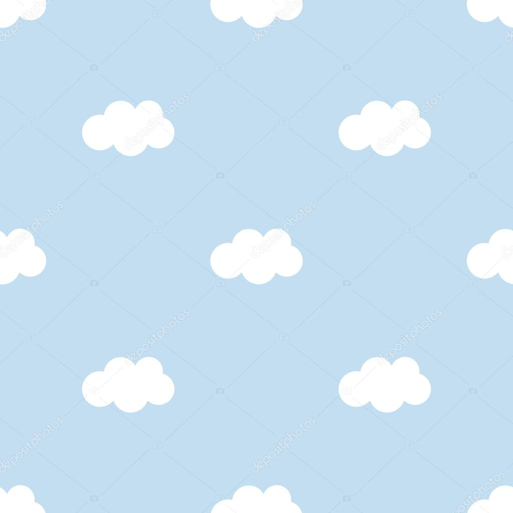 Flat Design Cute Blue Sky With Clouds Seamless Pattern Background Stock Vector