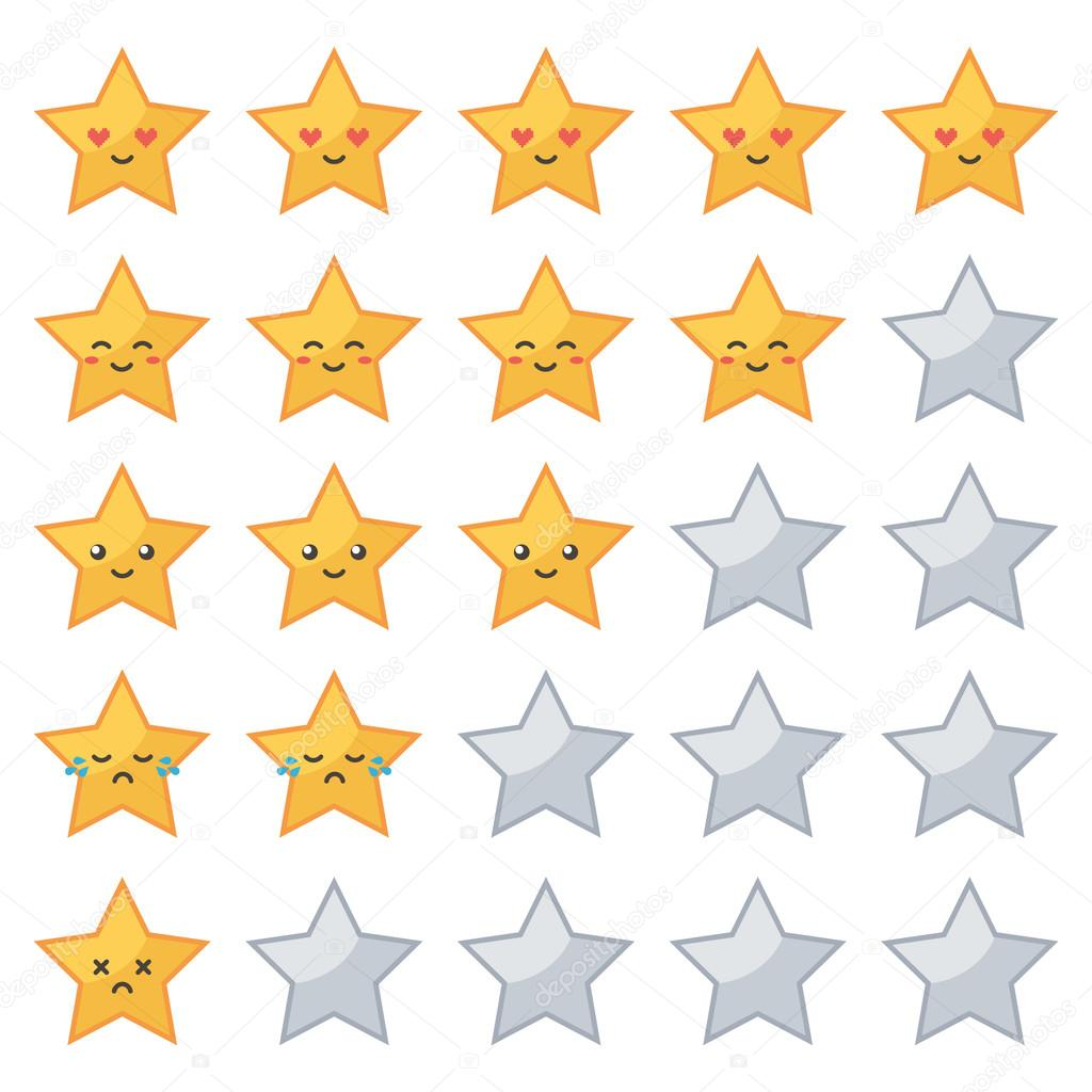 Golden stars rating with cute emoji characters for movie, game and other entertainment reviews isolated on white background.