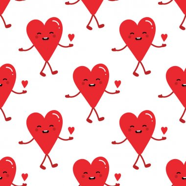 Cute romantic red heart character holding small heart in hand vector seamless pattern background for Valentines Day. icon