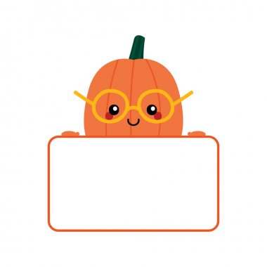 Vector cartoon cute smiling pumpkin character in glasses holding blank, empty card in hands. icon