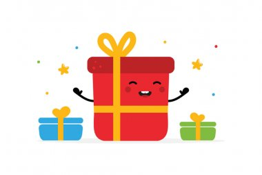 Cute cartoon style illustration with smiling happy gift box character and small present boxes. Christmas celebration design. icon
