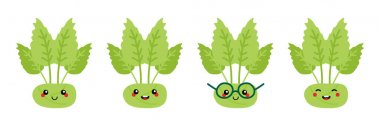 Set, collection of cute and smiling cartoon green kohlrabi characters for food design. icon