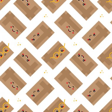 Cartoon cute and smiling cardboard delivery boxes characters vector seamless pattern background. icon