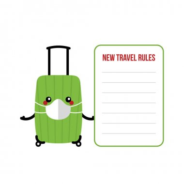 Vector cartoon style suitcase, travel bag, luggage character in medical face mask holding travel card template with new travel rules during coronavirus pandemic. icon