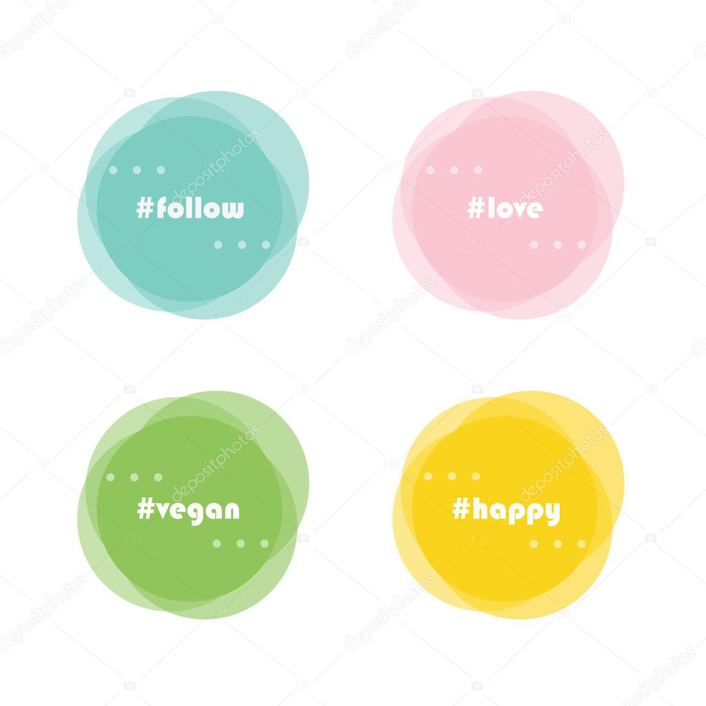 Design elements banner - Abstract Vector Round Design Elements Flat Design Banner Set With Hashtags Follow Love