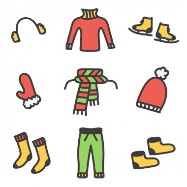 Colorful doodle winter clothes set isolated on white background.