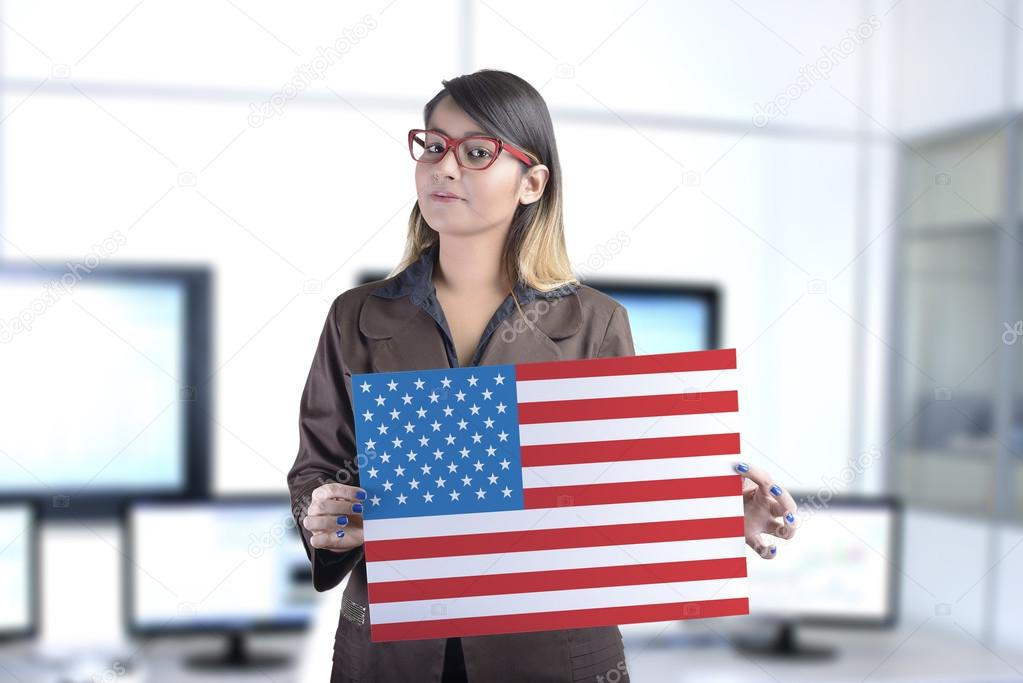 Business Woman Holding The United States Flag