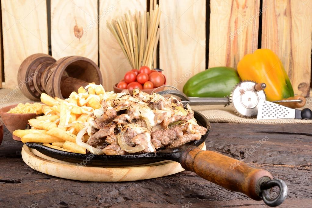 Sirloin Steak, Onions and French Fries