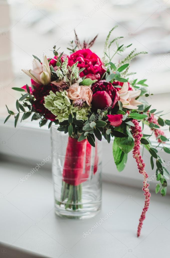 Braut Strauss Hochzeit Blumen Rot Und Beige Pfingstrosen Lilien
