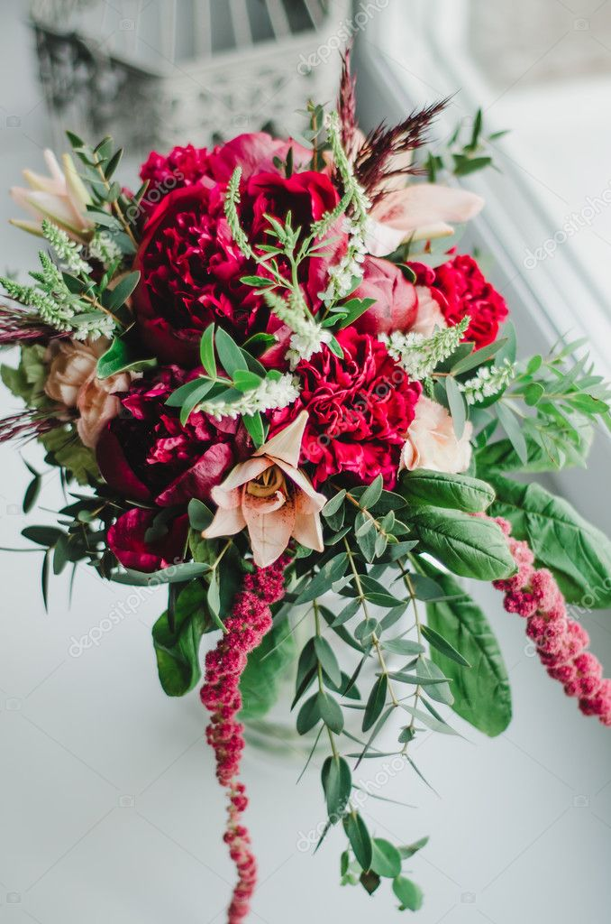 Bride Bouquet Of Wedding Flowers Red And Beige Peonies Lily