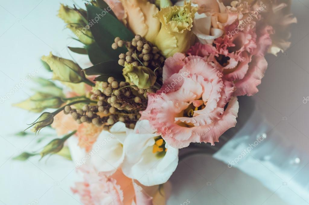 Pictures Fall Wedding Flowers Beautiful Autumn Bridal Bouquet Of Wedding Flowers Roses Eustoma Berries With White Tape Pastel Colors Orange Peach Pink Yellow Rustic Style Still Life Holiday Floristic Fall Gold