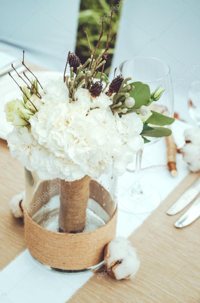 Decoration De Mariage D Hiver Avec Fleur De Coton En Banquet