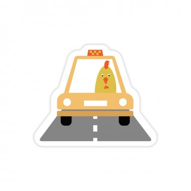 stylish paper sticker on white background Cock taxi driver