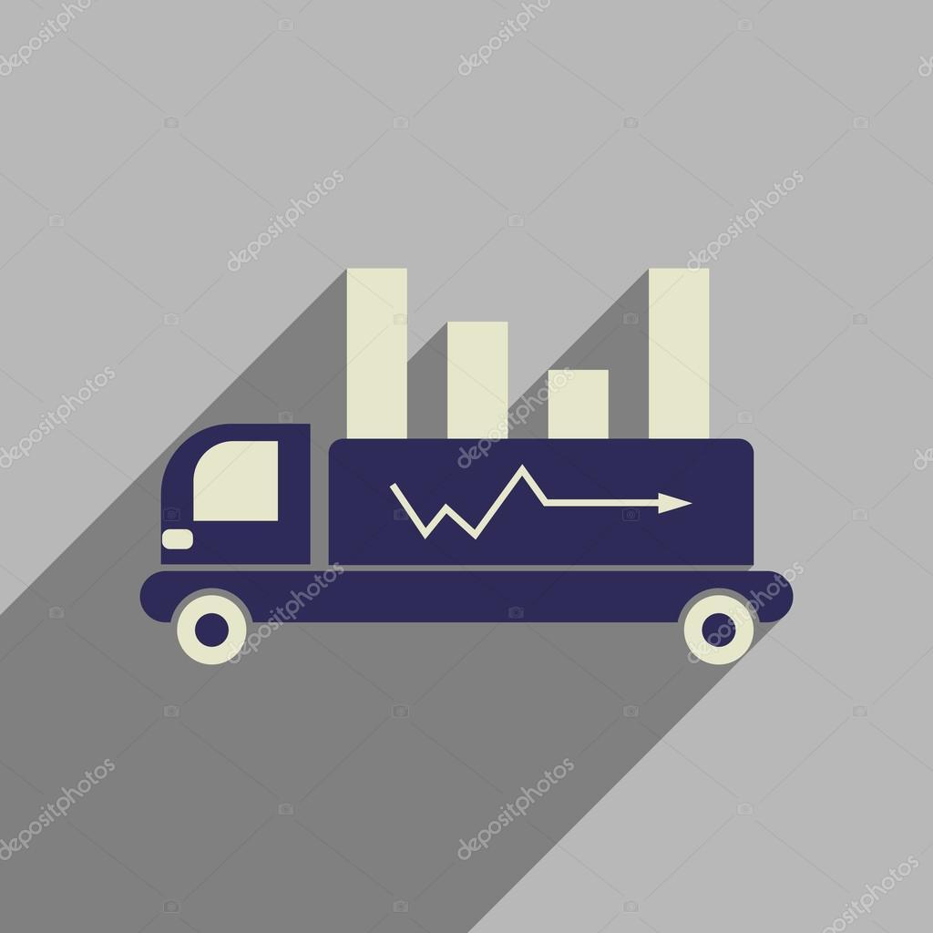 Flache Web-Symbol mit langer Schatten-Auto-Diagramm — Stockvektor ...