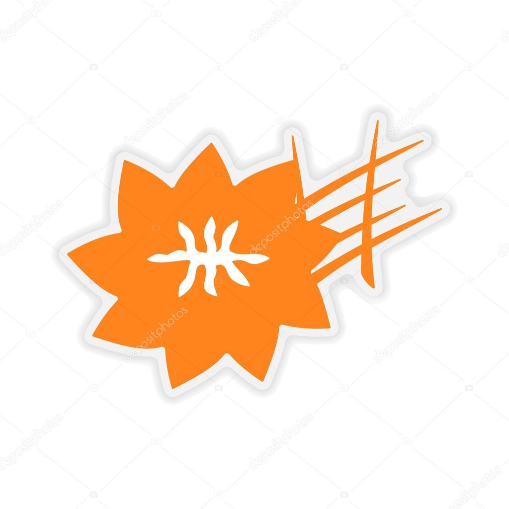 icon sticker realistic design on paper saffron