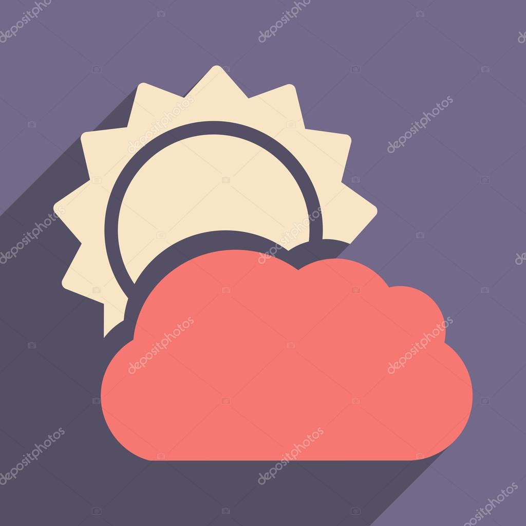 Flat with shadow icon and mobile application sun cloud