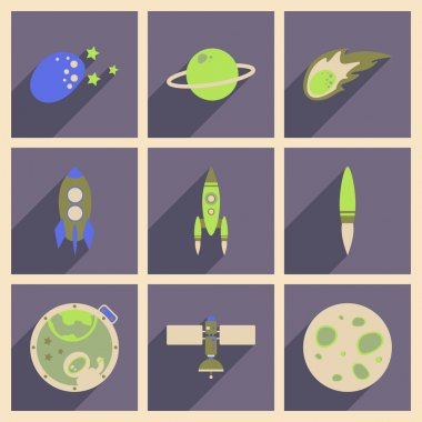 Concept of flat icons with long shadow space