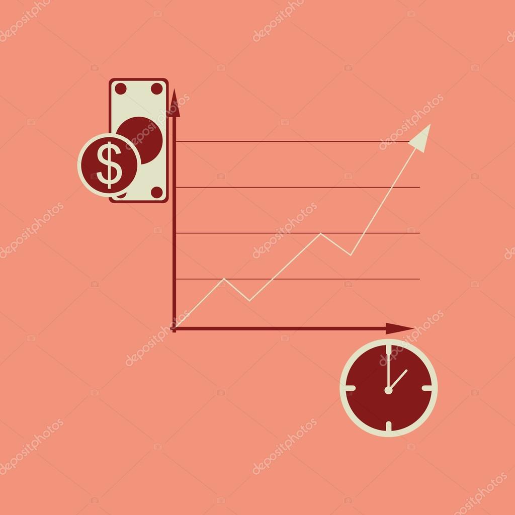 Flache Web-Symbol in stilvollen Rahmen Zeit Geld Diagramm ...