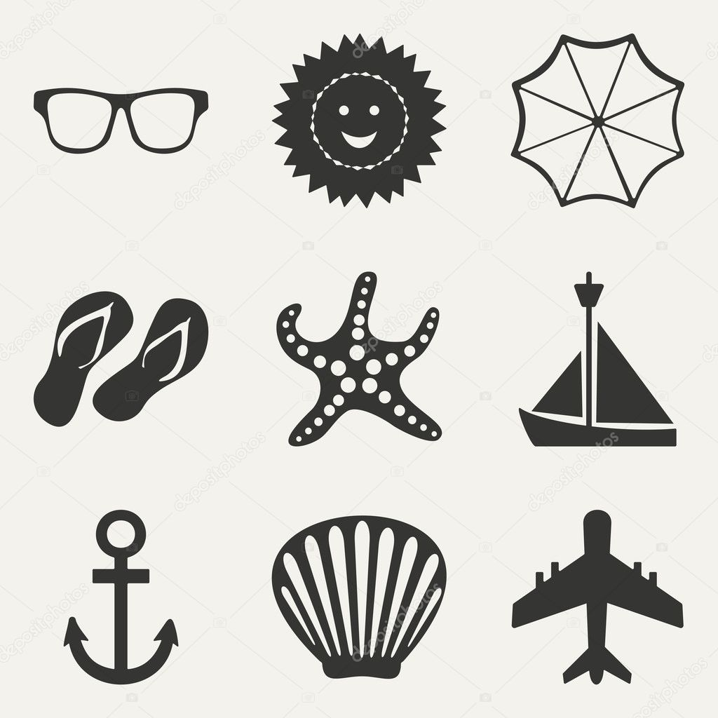Flat in black and white concept mobile application travel icons