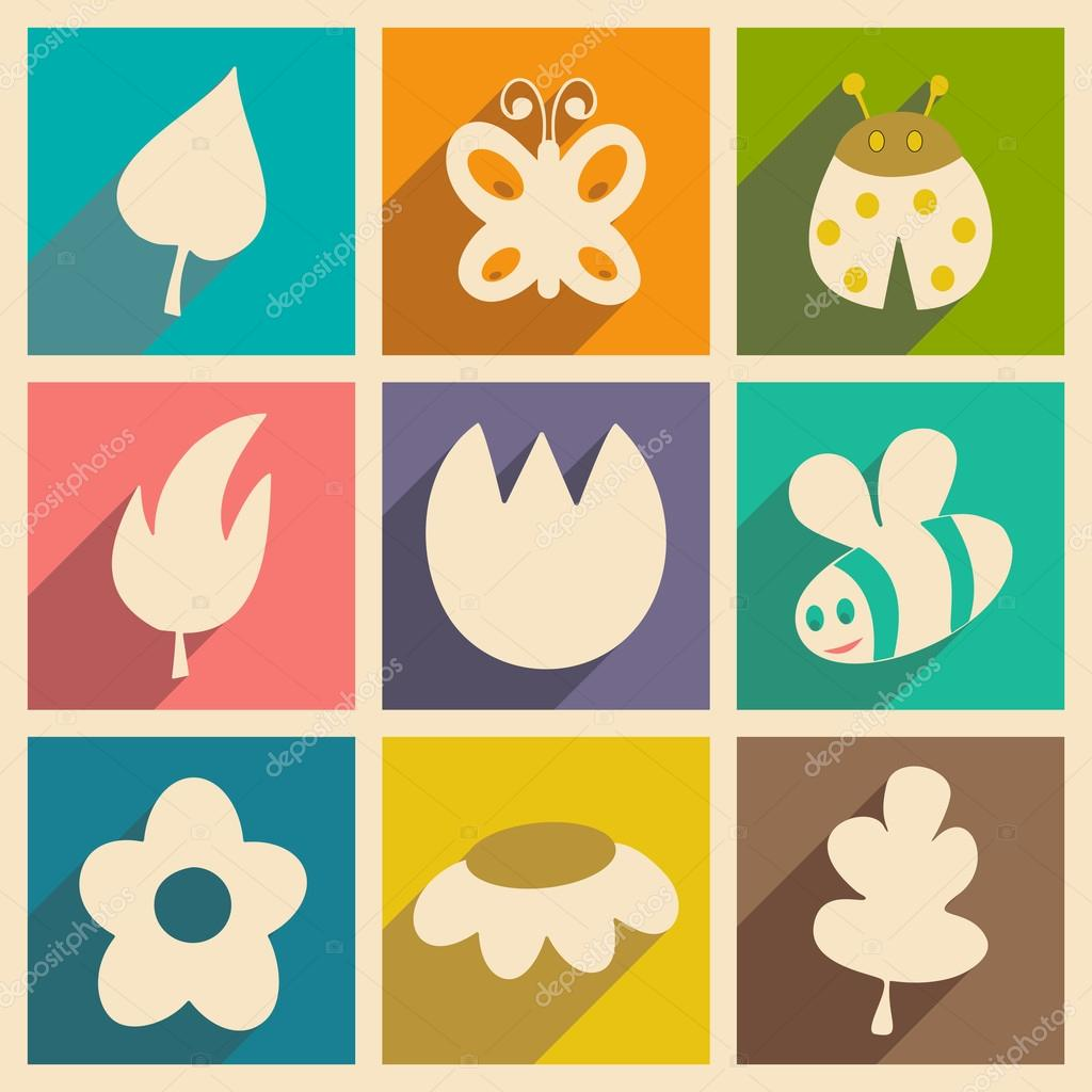 Flat with shadow concept and mobile application nature icons