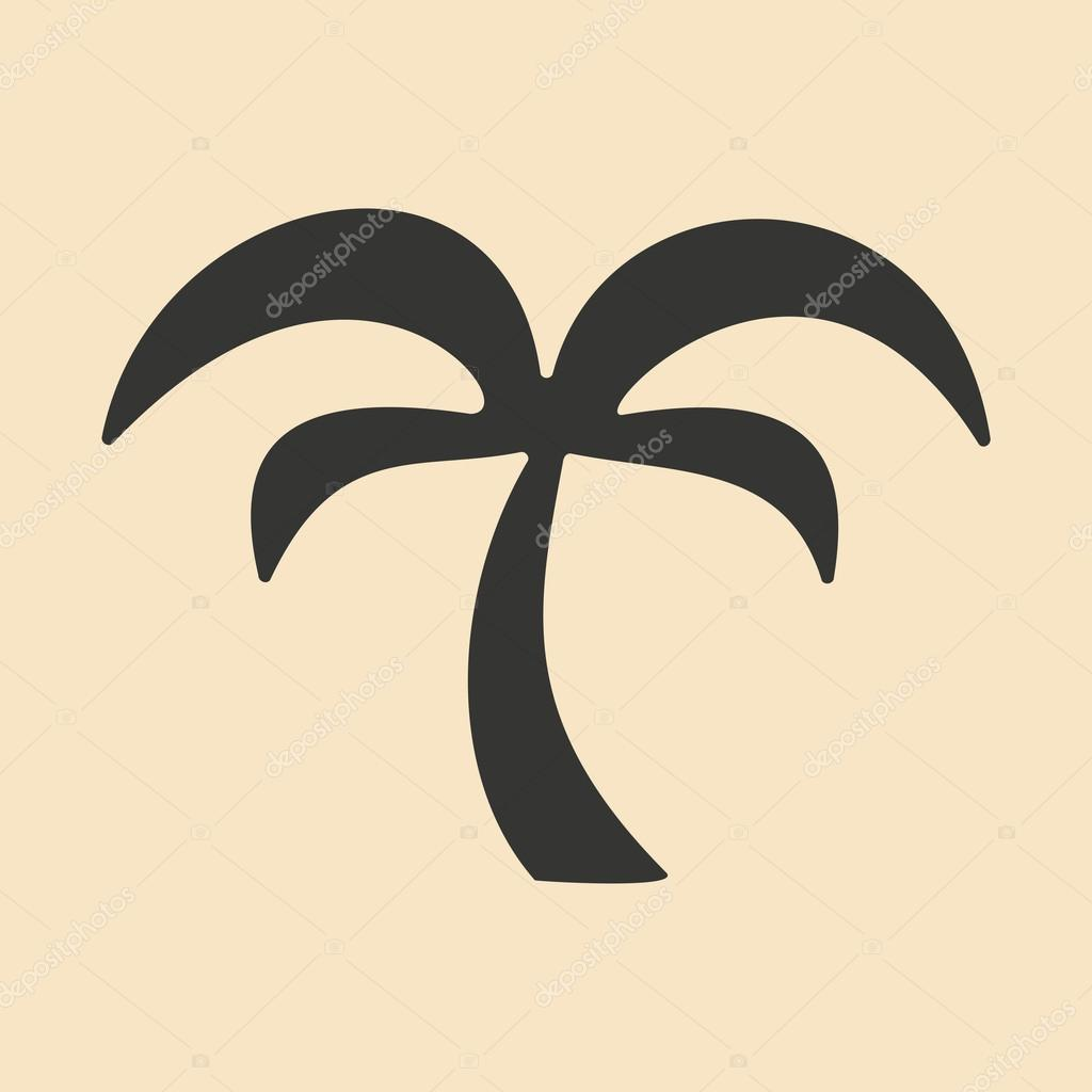 Flat in black and white mobile application palm tree