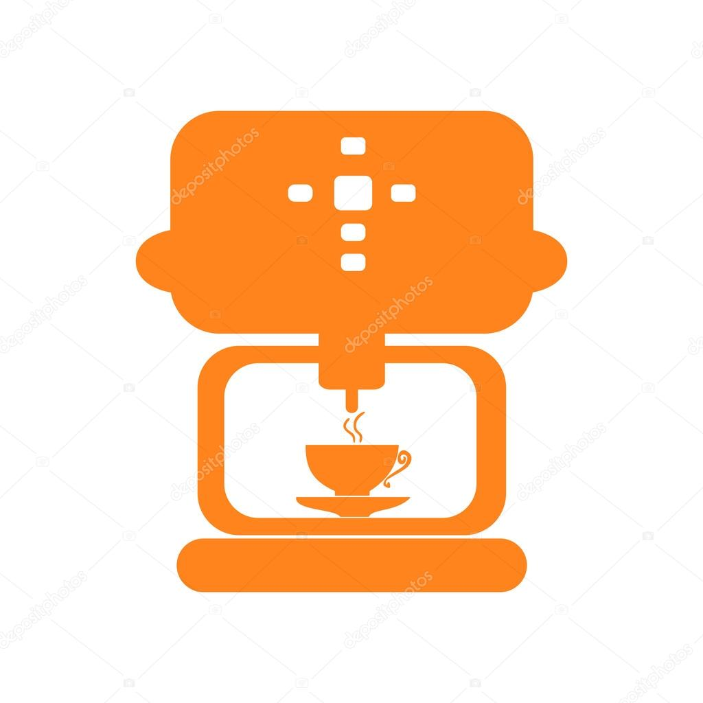 Icon sticker realistic design on paper coffee maker — Stock