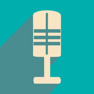 Flat with shadow icon and mobile applacation microphone