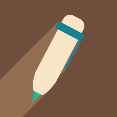 Flat with shadow icon and mobile application pen