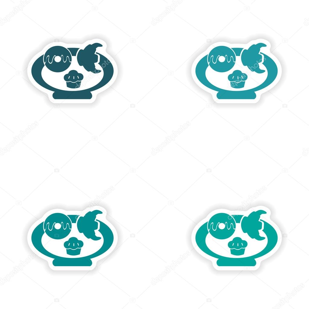Assembly realistic sticker design on paper baking cookies stock illustration