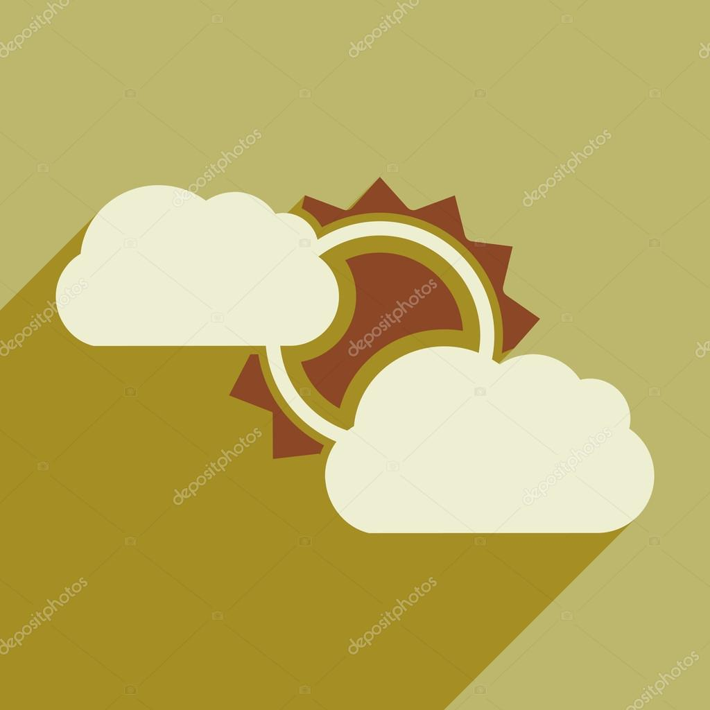 Flat with shadow icon and mobile application sun clouds