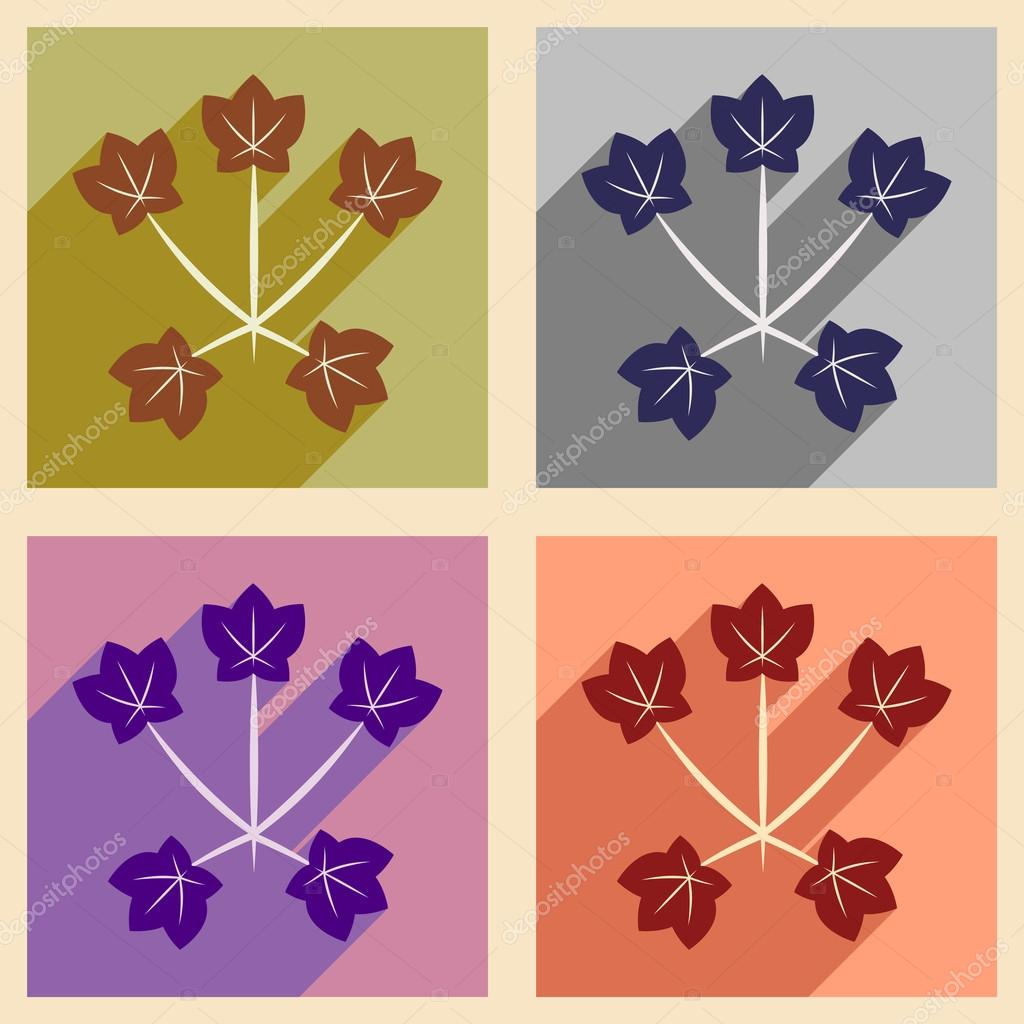 Flat with shadow concept and mobile application maple leaves
