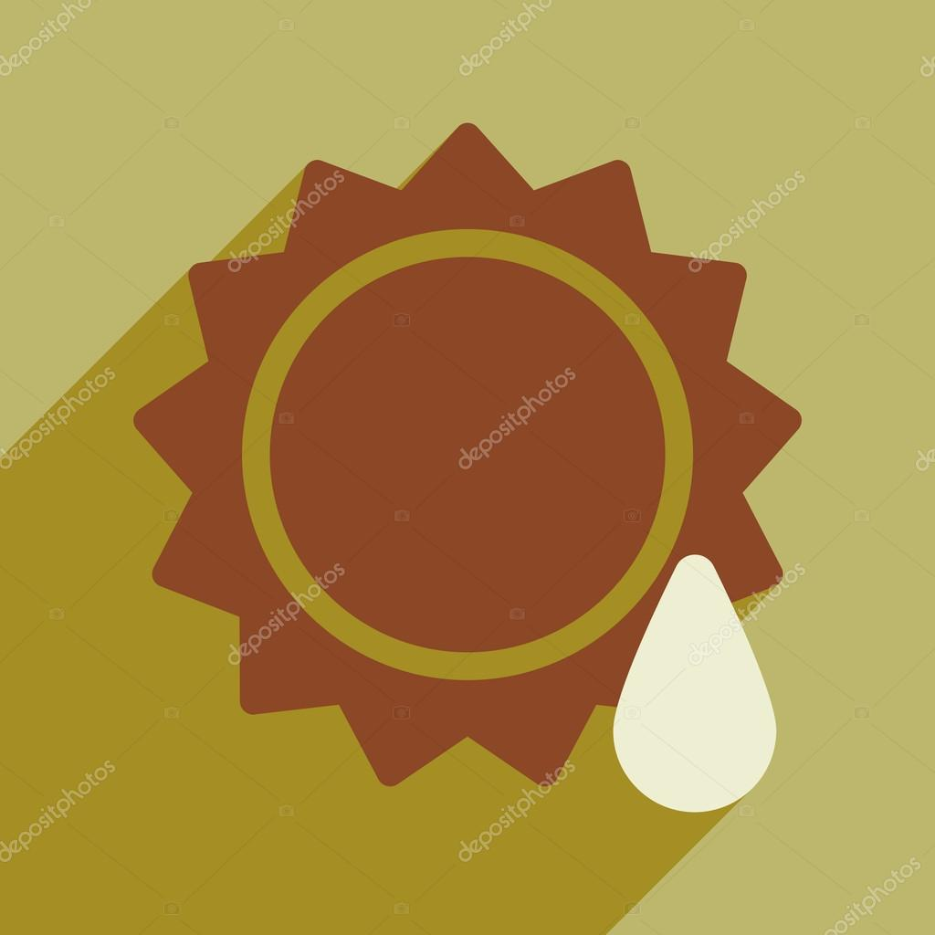 Flat with shadow icon and mobile application sun drop