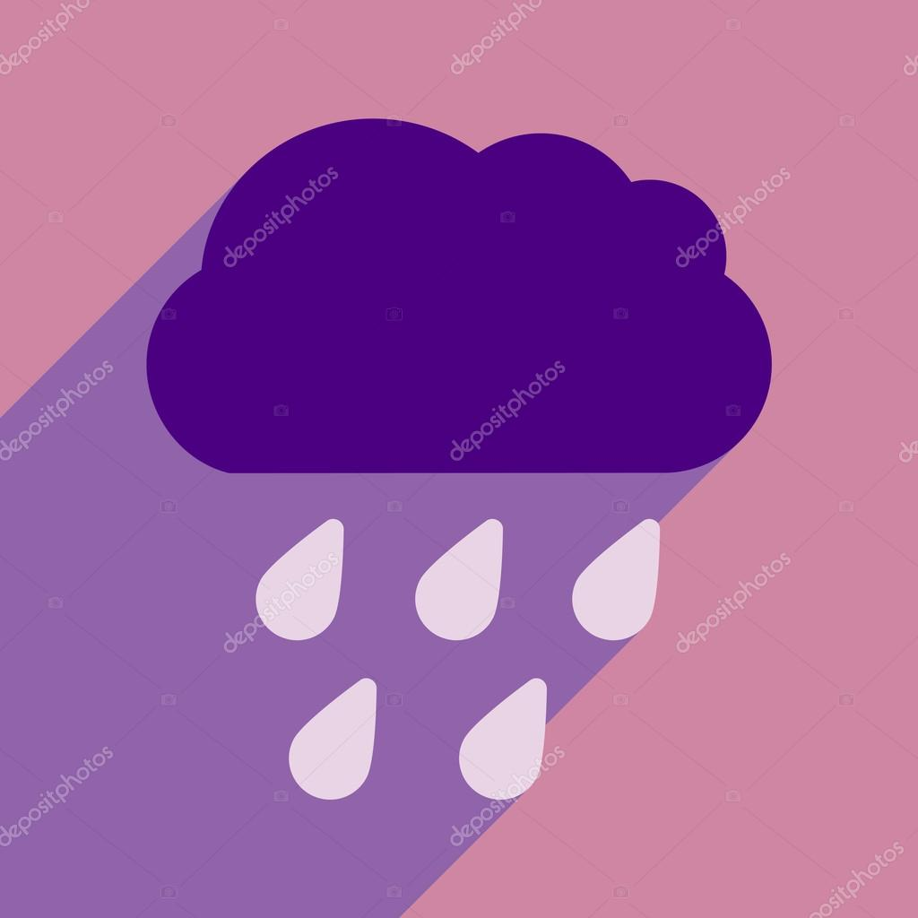 Flat with shadow icon and mobile application rain cloud