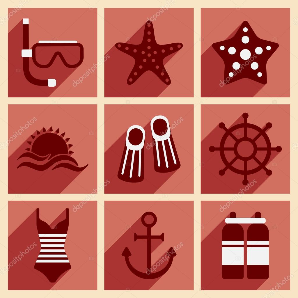 Flat with shadow concept and mobile application sea icons