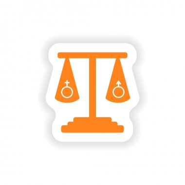 icon sticker realistic design on paper equality of the sexes