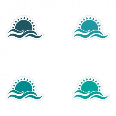 assembly realistic sticker design on paper sun Sea