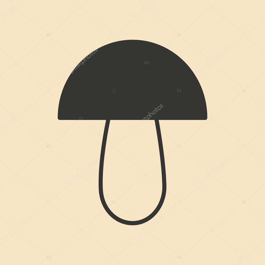 Flat in black and white mobile application mushroom