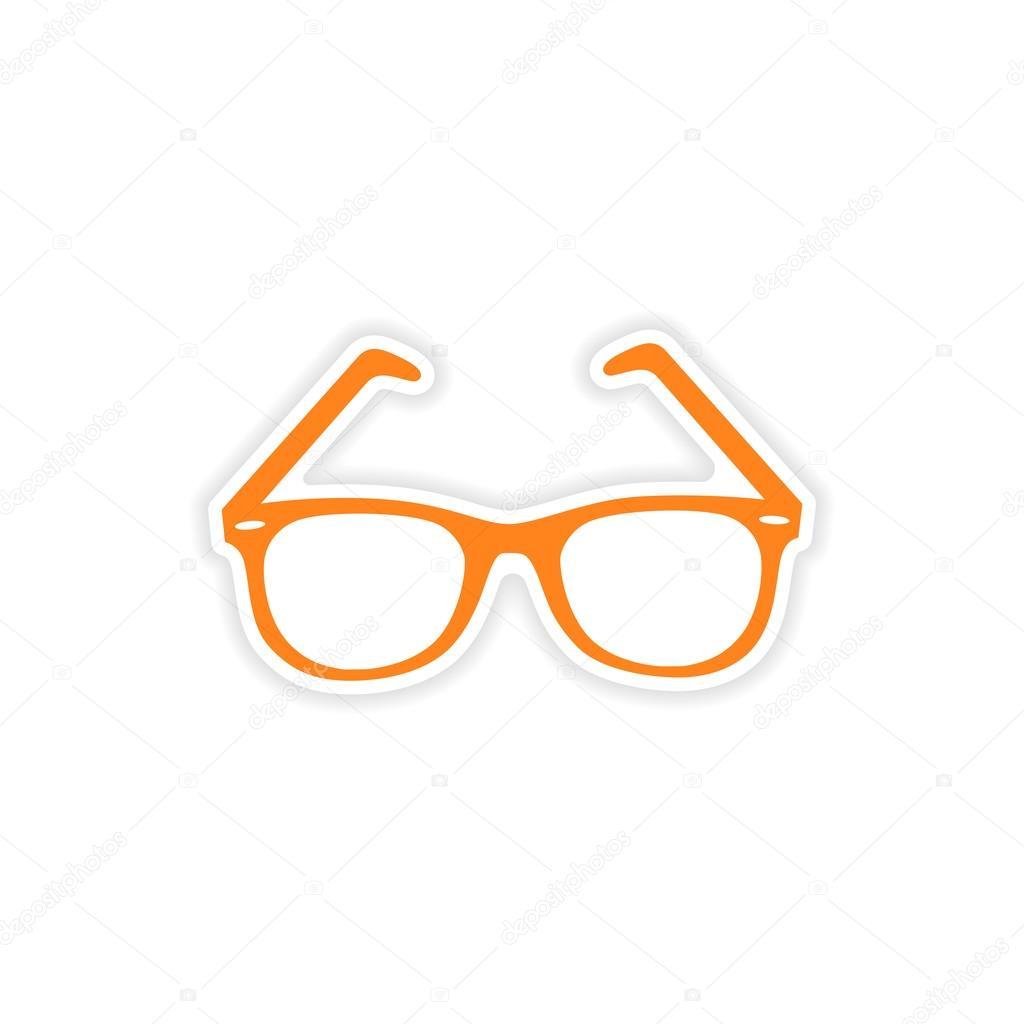 Realistico Disegno Icona Su Occhiali Di Da Adesivo Carta Sole DE2HI9
