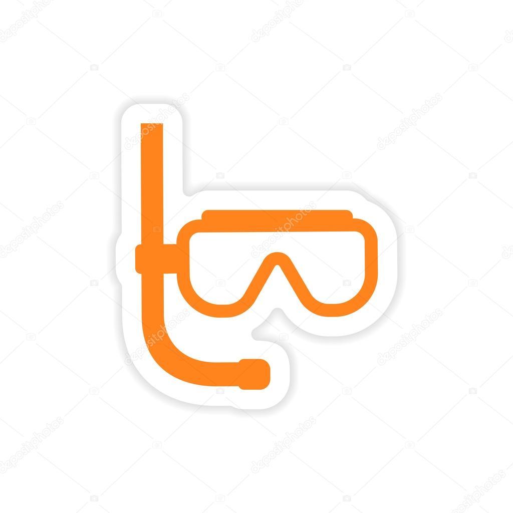 icon sticker realistic design on paper scuba diving mask