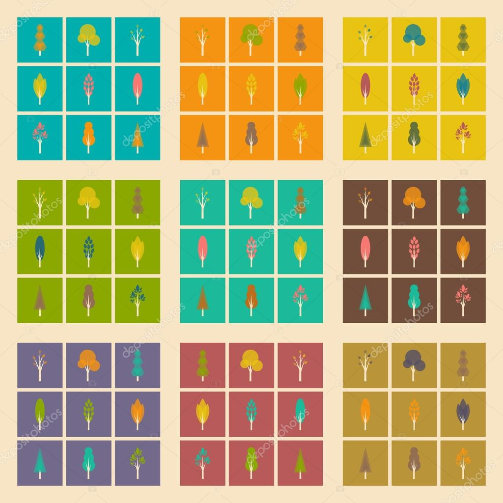 Flat with shadow concept and mobile application trees forest