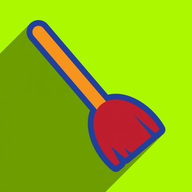 Flat with shadow Icon broom on bright background