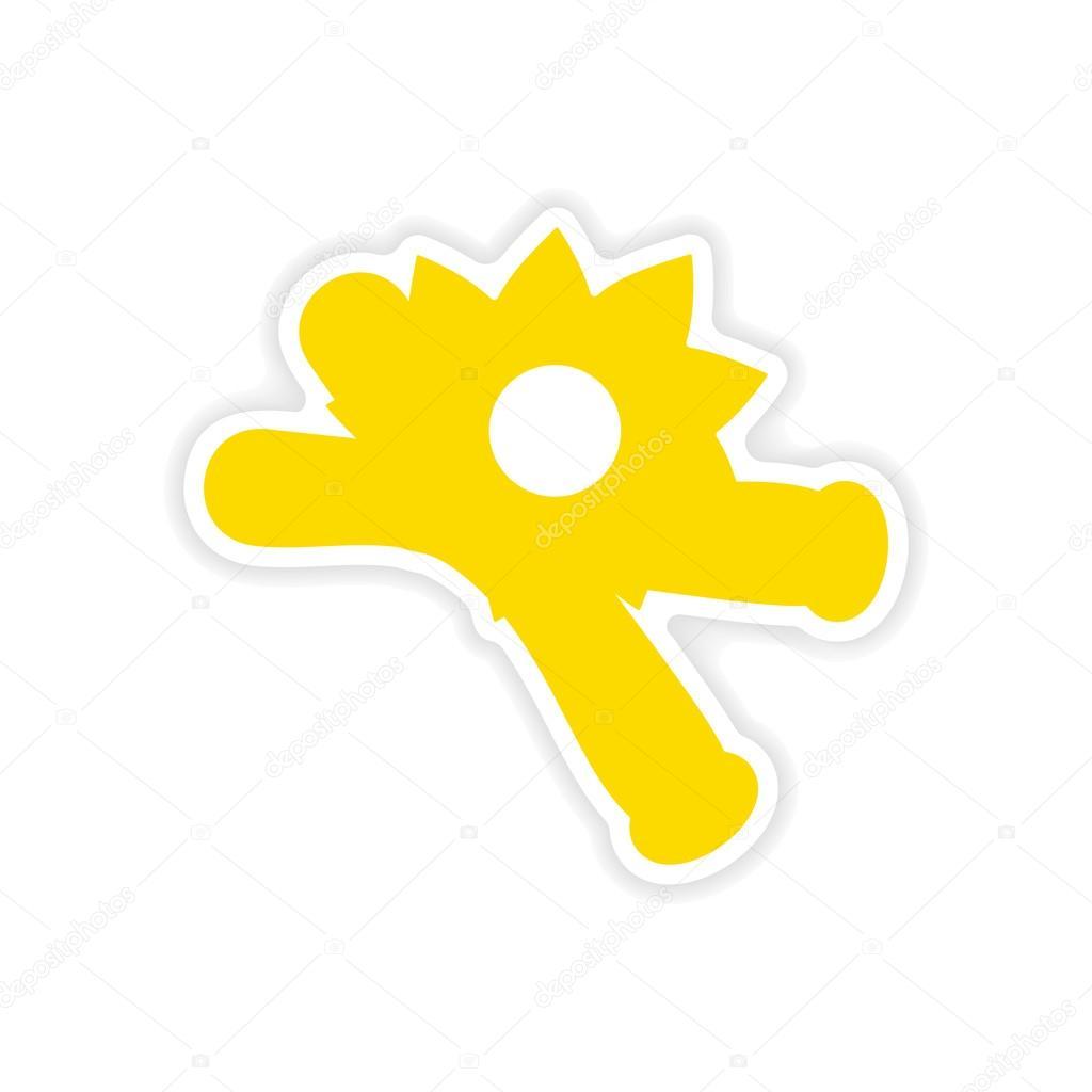 icon sticker realistic design on paper vanilla