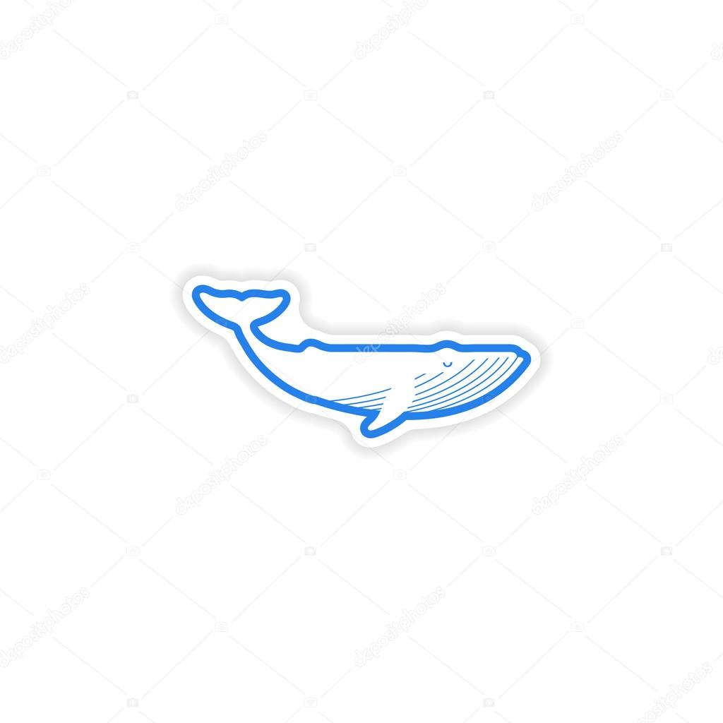 paper sticker on white background blue whale
