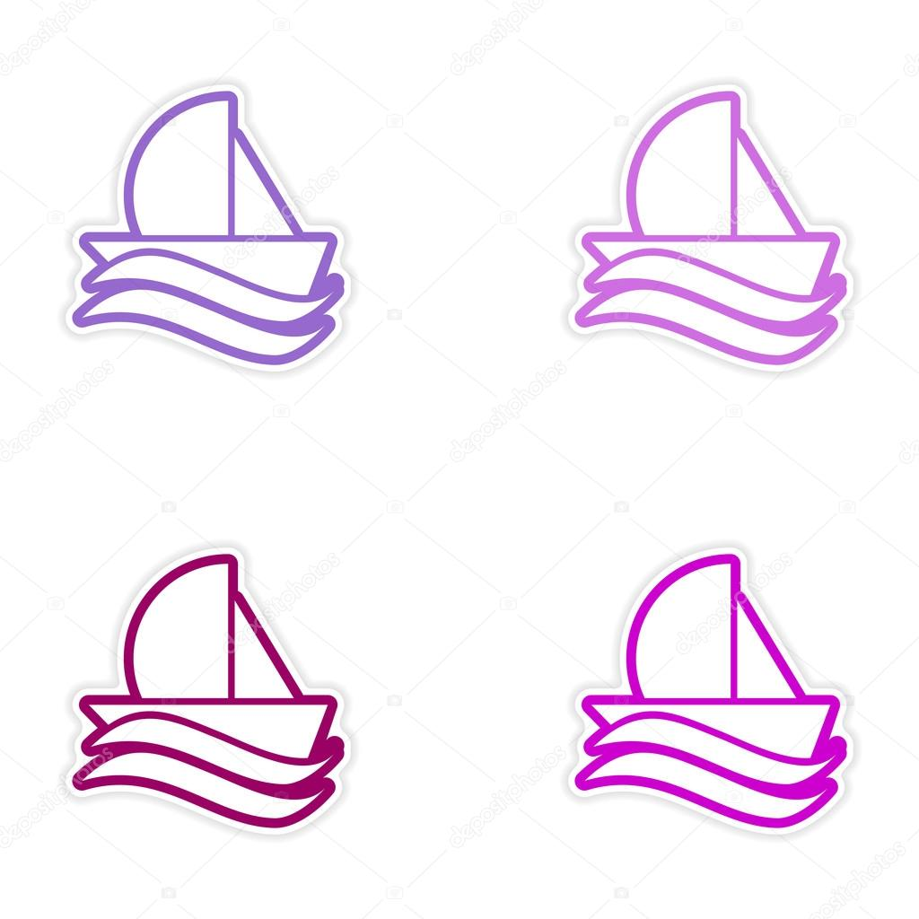 Set of stickers sailing ship on white background