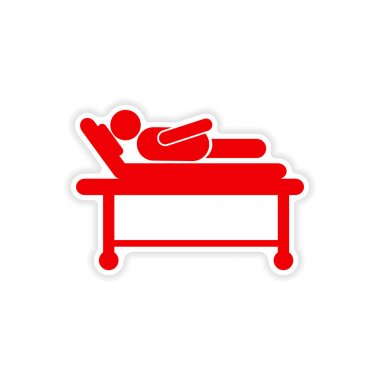 paper sticker man in hospital bed on white background