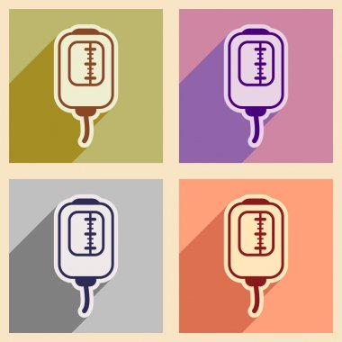 Icons of assembly blood transfusion in flat style