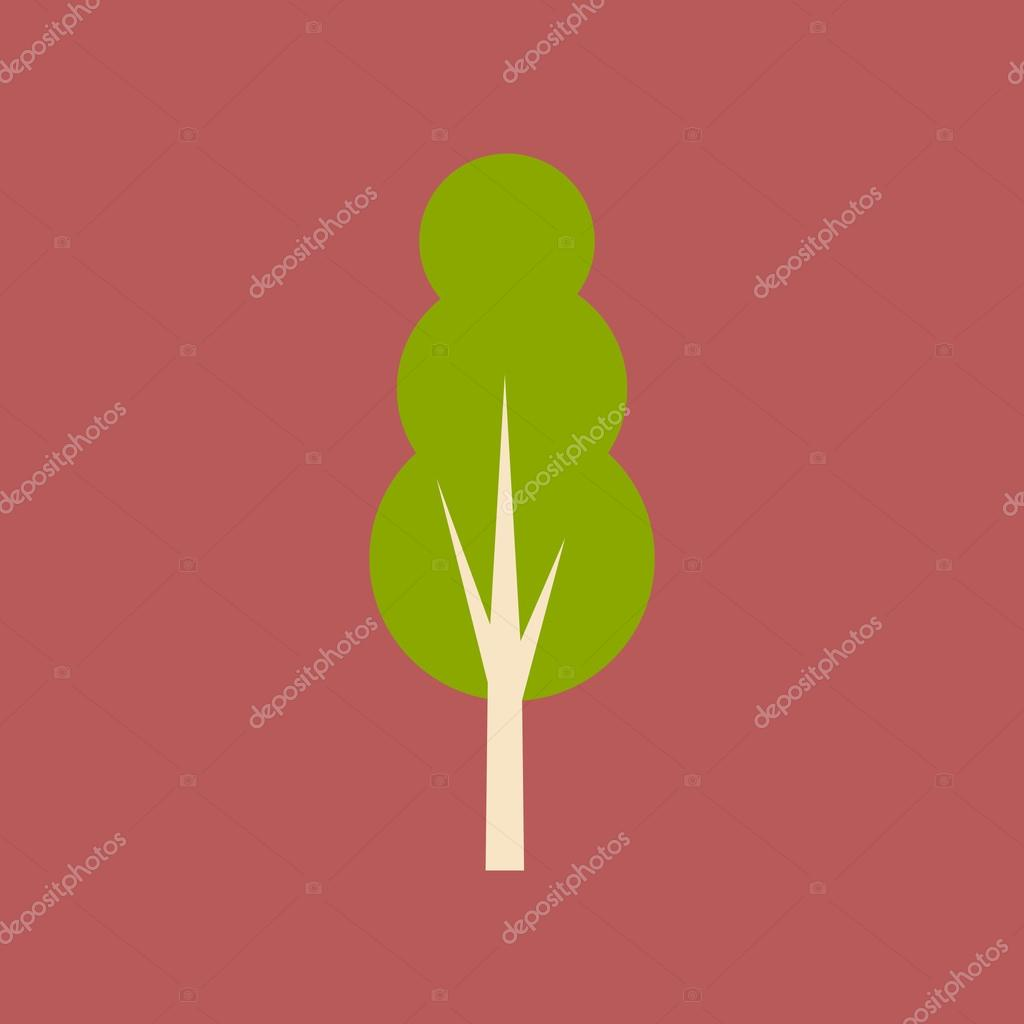 Flat with shadow icon and mobile application tree deciduous