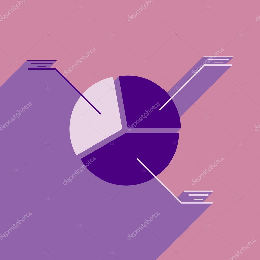 Modern Flat Icon With Shadow Pie Chart Stock Vector Gorovits